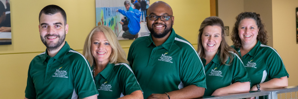 The Student Success Team: (L-R) Stephen Vaughan, Chris Creswell, Dr. Ivory Berry, Brianna Alford, and Jocelyn Callister; not pictured: Dr. Ellen Rodgers and Meg Yoder